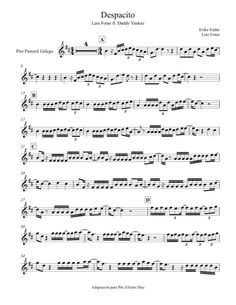 despacito in treble Alto Sax Sheet Music, Easy Piano Sheet Music, Violin Sheet Music, Piano Music, Saxophone Notes, Saxophone Music, Daddy Yankee, Violin Songs, Trumpet Music