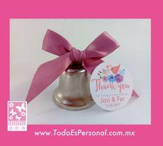 campana plata liston palo de rosa boda invitados iglesia sonar pajaros liston flores ideas manualidades detalles bolo economicos