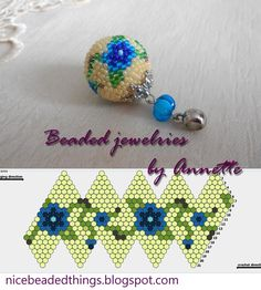 Гарненькі бісерні штучки | Beaded jewelries by Annette: Незабудки Bead Crochet Patterns, Bead Crochet Rope, Beading Patterns, Beaded Ornament Covers, Beaded Ornaments, Beading Projects, Beading Tutorials, Beaded Jewelry Designs, Beading Techniques