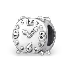 Alarm Clock Real Sterling Silver Charm Bead