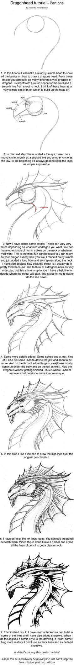 How to draw a dragon's head.