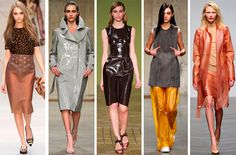 "The Top 10 Fall Trends from London Fashion Week - Material: Rubbermaid  These spill-proof textures brought both a sense of ""kink"" and utility to London's newest mix. Translucent versions left little–if anything–to the imagination."