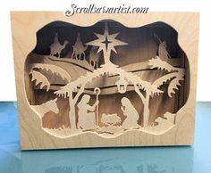 Scroll Saw Patterns :: Holidays :: Christmas :: Nativity :: Layered Nativity light box -