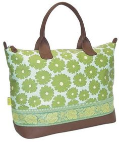 Marni Duffle Bag in Poppies Green by Amy Butler - Polyvore