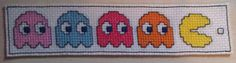 Pacman bookmark. Cross stitched. For sale at £5.00…