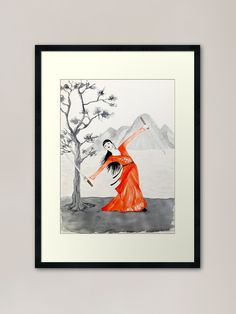 White Framed Art, Black And White Frames, Japan Woman, Framed Art Prints, Samurai, Dancing, Shops, Community, Restaurant
