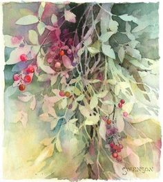 """Leaves and Berries"" - Brenda Swenson demonstration of ""negative"" painting"