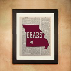 Missouri State Bears Dictionary Art Print Springfield Mo MSU University Maroon Red White Football Vintage Paper College Wall Art da80