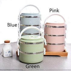 Layers Stainless Steel Thermal Insulated Lunch Box Bento Food Storage Container Maccaron Material: Stainless Steel, PP Color: Blue, Pink, Green Lunch Box Containers, Food Storage Containers, Lunch Boxes, Box Lunches, Bento Recipes, Lunch Box Recipes, Lunch Ideas, Thermos, Stainless Steel Lunch Box