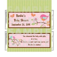 FREE FOILS Personalized Bird Sweet Tweet Girl BABY SHOWER candy bar wrappers