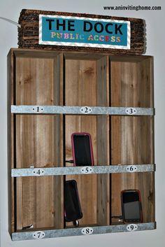 diy charging station mounted shelves