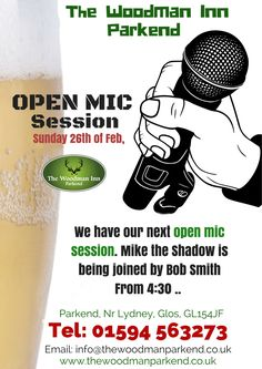 We have our next #openmic session. Mike the Shadow is being joined by Bob Smith #thewoodmaninn #forestofdean  http://www.thewoodmanparkend.co.uk