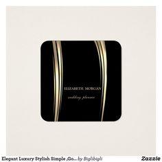 Tarjeta De Visita Cuadrada Simple elegante de lujo elegante, oro, negro