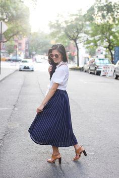Pinstripe Midi Skirt