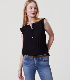 Primary Image of Petite Ruffle Henley Shell