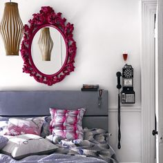 Pink mirror and I like the pillows too