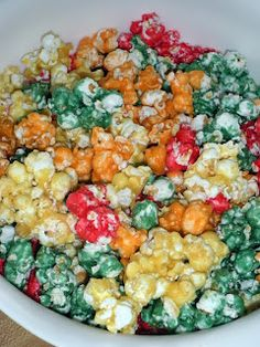 Rainbow popcorn...  tried it!  Pretty tasty!
