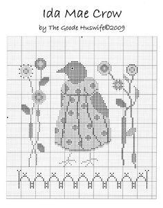 ira ray et ida mae crow Cross Stitch Freebies, Cross Stitch Bookmarks, Cross Stitch Samplers, Cross Stitch Charts, Cross Stitch Designs, Cross Stitching, Cross Stitch Embroidery, Cross Stitch Patterns, Fall Cross Stitch