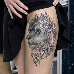 A good placement of lion tattoo