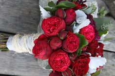 Red Garden Rose Bouquet white-black-bridal-bouquet-anemones-ranunculus-lilies-garden-roses