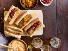 Beer Bratwursts w/ Sweet-and-Sour  Onions; Smoky Beer Cheese; Red Pepper Relish :: FNMag July/August 2013