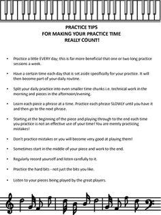 A one page handout of TEN practice tips. Suitable for both all music students!Use it as a handout or enlarge, laminate and post it on the w...