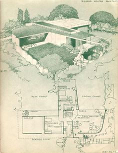 """Richard Neutra design and floorplan (unbuilt?) as published in the 1945 book """"The Small Home of Tomorrow"""" by Paul R. Richard Neutra, Architecture Graphics, Architecture Drawings, Architecture Plan, Melbourne Architecture, Chinese Architecture, Classical Architecture, Futuristic Architecture, Ancient Architecture"""