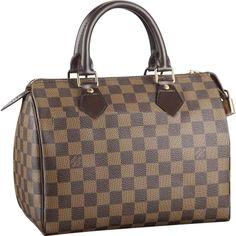 Louis Vuitton Speedy Damier Ebene Canvas Size: x x Louis Vuitton Damier, Louis Vuitton Speedy 25, Louis Vuitton Handbags, Lv Handbags, Canvas Handbags, Vuitton Bag, Fashion Handbags, Fashion Bags, Versace