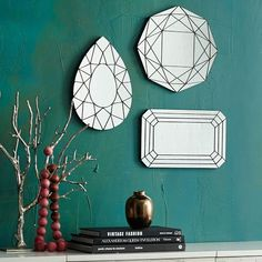 Gem Cutout Mirrors from West Elm. Shop more products from West Elm on Wanelo. Sharpie Wall, Entryway Mirror, Mirror Mirror, Wall Mirrors, Mirror Ideas, Mirror Image, Shabby Chic Bedrooms, New Wall, Cool Rooms