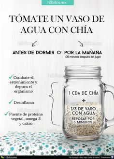 12 tips para comer sanamente. 12 tips to eat health… Water iconography with chia. 12 tips to eat healthy. 12 tips to eat healthily. Healthy food Delicious food Diet Food without calories Healthy Juices, Healthy Drinks, Healthy Tips, Healthy Eating, Healthy Recipes, Detox Recipes, Healthy Food, Nutrition Drinks, Drink Recipes