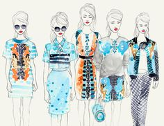 Holly Fulton line up - lovely drawing by Leni Kauffman - fashion illustration Fashion Illustration Sketches, Illustration Mode, Fashion Sketchbook, Fashion Sketches, Fashion Line, Moda Fashion, Fashion Art, Holly Fulton, Book Design Layout