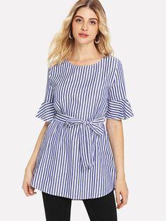 14339541661a27 Self Tie Flounce Sleeve Stripe Blouse -SheIn(Sheinside) Blouse Online