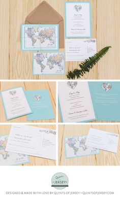 World Map Travel Inspired Wedding Stationery Designed Made With Love By Quints Of Jersey