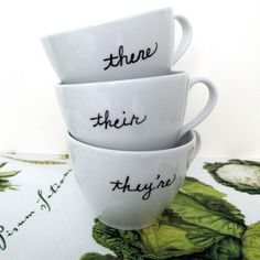 Let your teacup and saucer help you with correct grammar! There, their, and they're. From VenueDecor on Etsy