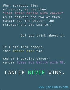 Its all about perspective...CANCER NEVER WINS