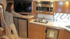 """Cruisers Yachts 540 Sports Coupe: The 15' 6"""" (4.72 m) beam is put to good use allowing for lots of room in the galley while not impinging on the salon space."""