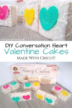 DIY Conversation Heart Valentine Cakes Made With Cricut, Vinyl and Little Debbie frosted Cakes! Valentine Cake, Valentines Day Food, Little Valentine, Valentine Day Crafts, Crafts For Kids, Diy Crafts, Converse With Heart, Diy Projects For Beginners, Valentine's Day Diy