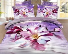 Adorable floral pattern duvet cover set, keep it for yourself Buy link>>>http://urlend.com/UzYvmaA Live a better life, start with +Beddinginn  http://www.beddinginn.com/product/High-Quality-Elegant-Purple-Magnolia-Print-4-Pieces-Polyester-3D-Bedding-Sets-10941963.html