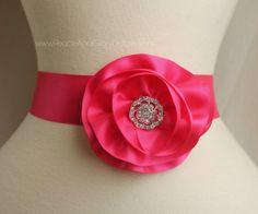 Hot Pink Fushia Flower Sash Sash Set - 3 in 1 - Double Faced Satin Ribbon Sash - Bridal Bridesmaids Flower girl Sashes