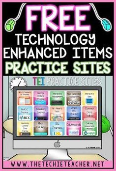 Free Technology Enhanced Items (TEI) Practice Sites Technology Enhanced Items are appearing on Common Core and state testing. We need to prepare our students with these type of testing items. Come learn about the different types of questions/responses and Teaching Technology, Technology Integration, Computer Technology, Digital Technology, Educational Technology, Teaching Resources, Computer Lab, Technology Tools, Technology Lessons