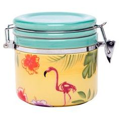 FOR MY BEACH HOME SOMEDAY ~ Perfect for spices, tea, and more, this delightful canister brings tropical appeal to your kitchen. Product: CanisterConstruction Material: Earthenware and metalColor: MultiDimensions: 6 H x 4 Diameter Teal Dinnerware, Color Me Mine, Small Tea, Wine Goblets, Earthenware, Joss And Main, Canisters, Food Storage, Tropical