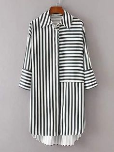 ROMWE offers Dip Hem Striped Shirt Dress & more to fit your fashionable needs. ROMWE offers Dip Hem Striped Shirt Dress & more to fit your fashionable needs. Sewing Dresses For Women, Clothes For Women, Dress Sewing, Dress Shirts For Women, Kurta Designs, Blouse Designs, Hijab Fashion, Fashion Dresses, Romwe