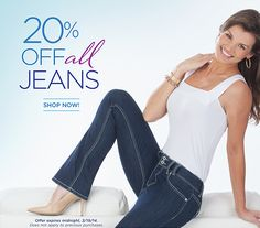 """It's the big one! Until 3/19, we're offering 20% off ALL our jeans. With 36"""" inseams and a fit made especially for tall women, it's a treat for longer legs everywhere: http://www.longelegantlegs.com/jeans #jeans #fashion #sale #discount"""