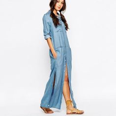 8e506298ff9 Online Shop 6 Pockets Denim Shirt Dresses Plus Size Button Fly Long Sleeve  Washing Jean Dress 2017 New Arrival Women Maxi Dress
