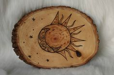 One Of A Kind Wood Burned Sun and Moon Wall by MindfulEuphoria on Etsy