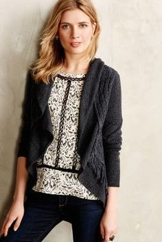 Knitted & Knotted Fringed Circle #Cardigan #anthrofave