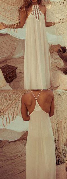 White Cut Out Split Side Maxi Dress