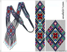 Schemes of gerdan for beaded Bead Loom Patterns, Peyote Patterns, Jewelry Patterns, Beading Patterns, Seed Bead Jewelry, Beaded Jewelry, Bead Loom Bracelets, Beading Techniques, Bijoux Diy