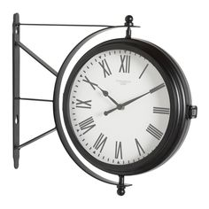 Offex Home Metro Station Dual Face Clock and Thermometer in Black(Glass) Silver Wall Clock, Hanging Clock, Outdoor Clock, Thing 1, Metro Station, Gifts For Office, Black Glass, Black Metal, Home Decor Outlet