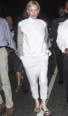 All in white: Cate Blanchett seen on Saturday night in New York has been keeping her wardr...
